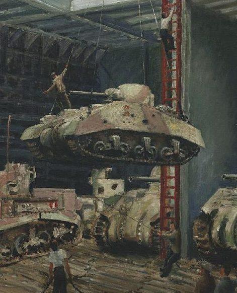 Hailstone Bernard. Погрузка поврежденных танков в трюм.