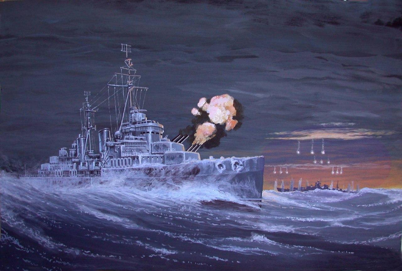 Ярулин Тимур. Крейсер «Белфаст» ведет огонь осветительными снарядами по германскому линкору «Шарнхорст».