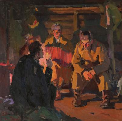 Киселев А. Советские солдаты в землянке.