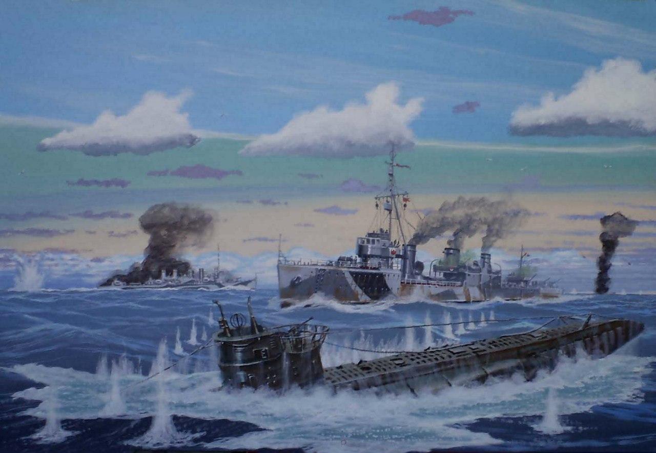 Ярулин Тимур. 23 апреля 1945 г. эсминец «Карл Либкнехт» атакует немецкую подлодку (конвой ПК-9).