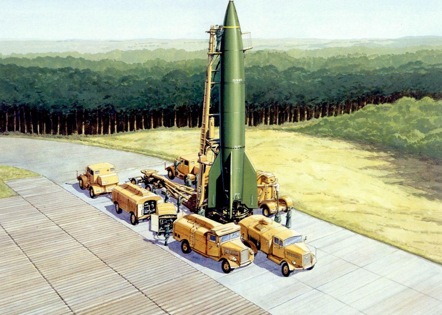 Calow Robert. Запуск ракеты V-2 с мобильной установки.