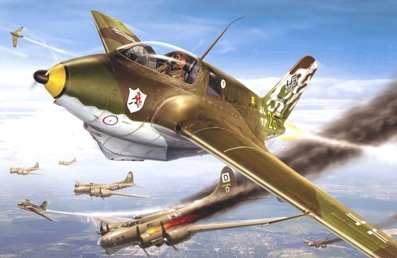 Петелин Валерий. Me-163 атакуют бомбардировщики B-17.
