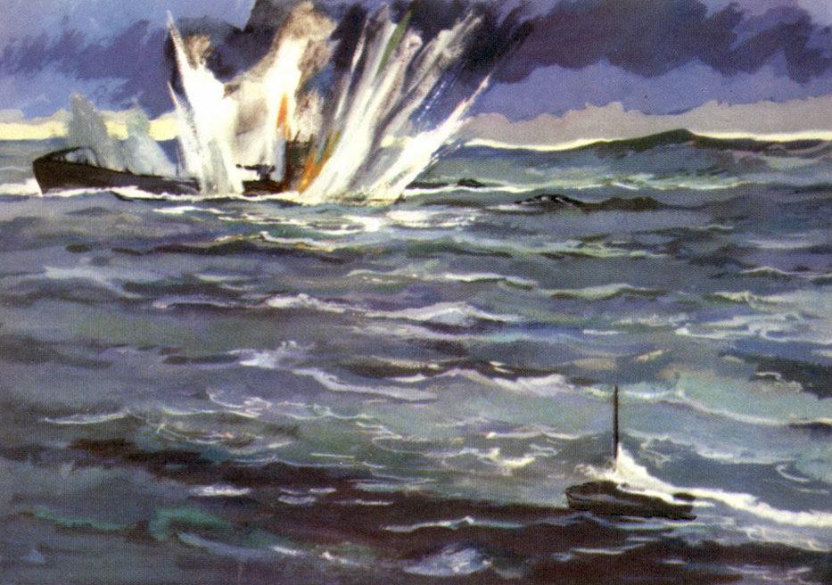 Павлинов Павел. Подлодка С-101 торпедировала немецкую субмарину.