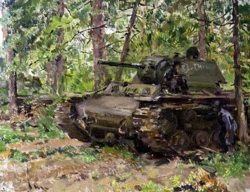Модоров Федор. Танки КВ в лесу.