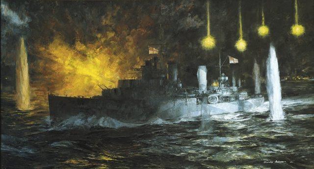Adams Dennis. Легкий крейсер «Perth» в Зондском проливе.