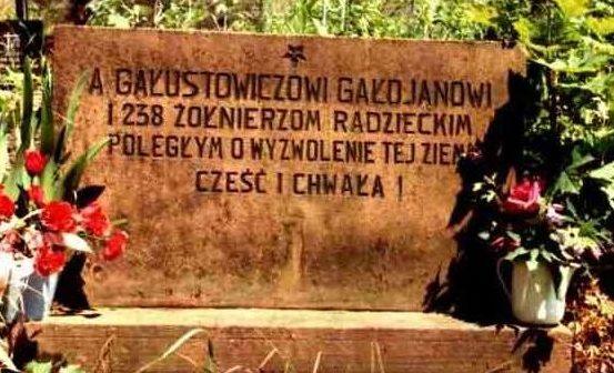 д. Цминск, Кельце повят. Памятник на братской могиле на городском кладбище, где захоронено 239 советских воинов, в т.ч. 238 неизвестных, погибших в годы войны.