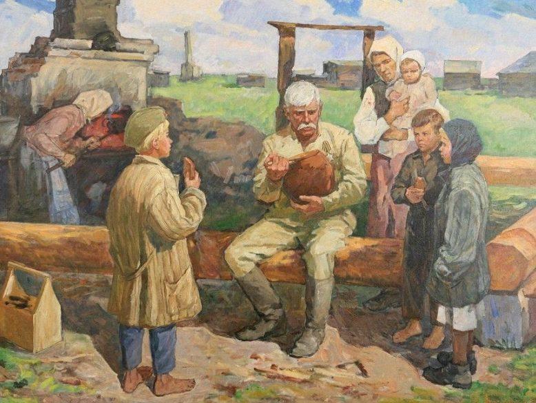 Лысенко Иван. Семья у разрушенного дома.