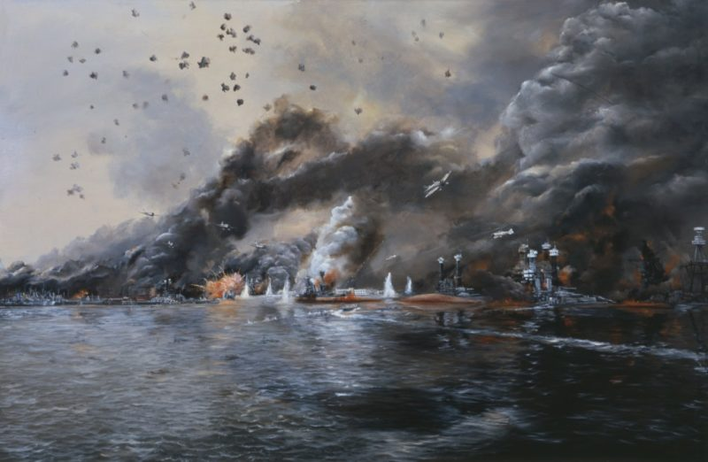 Hamilton John. Броненосец «Row» в огне.