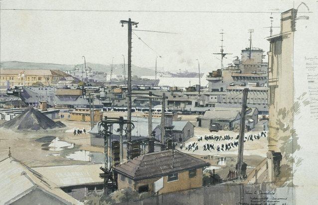 Goodchild John. Военные корабли в порту.