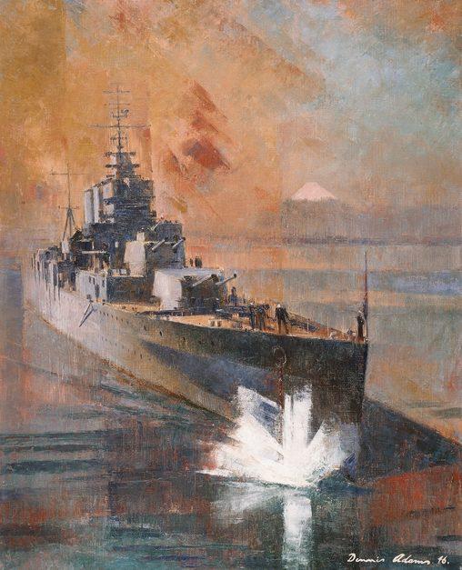 Adams Dennis. Крейсер «Shropshire» Бросает якорь в Токийском заливе.