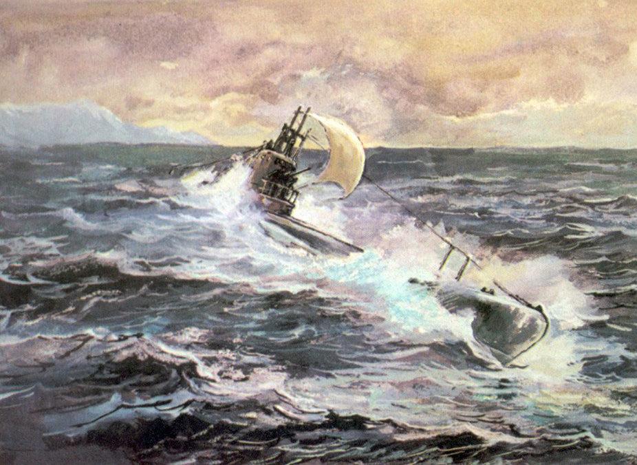 Павлинов Павел. Подлодка Щ-421 поднимает паруса.