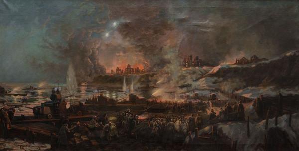 Подковырин В. Переправа через Волгу под Сталинградом. Ноябрь 1942 года.