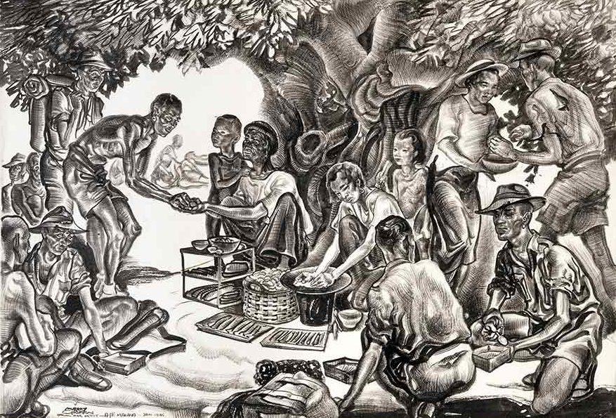 Griffin Murray. Рынок туземцев в лагере.