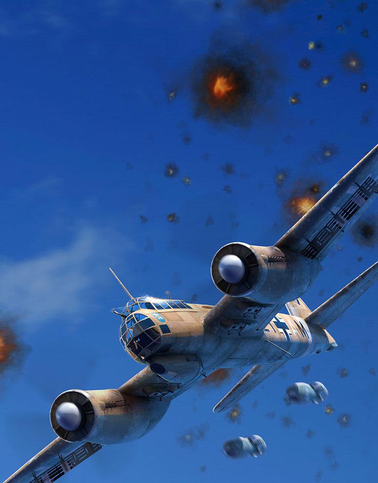 Luijken Wiek. Атакует Junkers Ju-88.