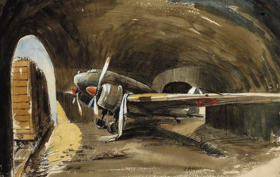 Morris James. Истребитель Кi-46 в ангаре.