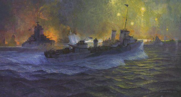 Norton Frank. Эсминцы «Stuart» и «Matapan» ведут бой с итальянским флотом.
