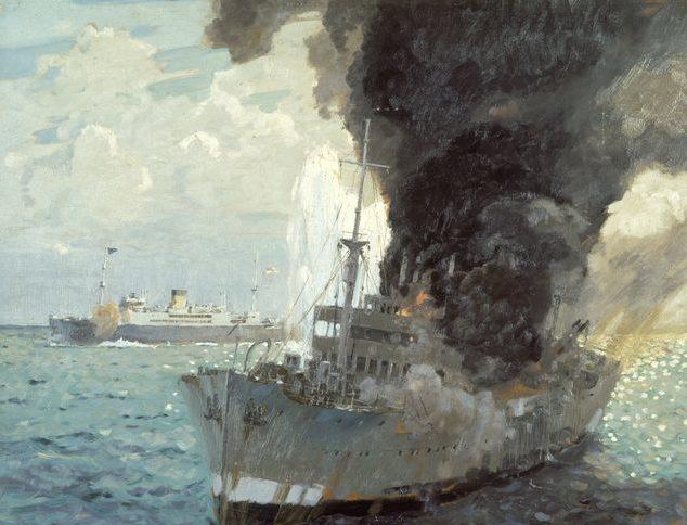 Norton Frank. Торговое судно «Manoora» топит итальянский транспорт «Romolo».