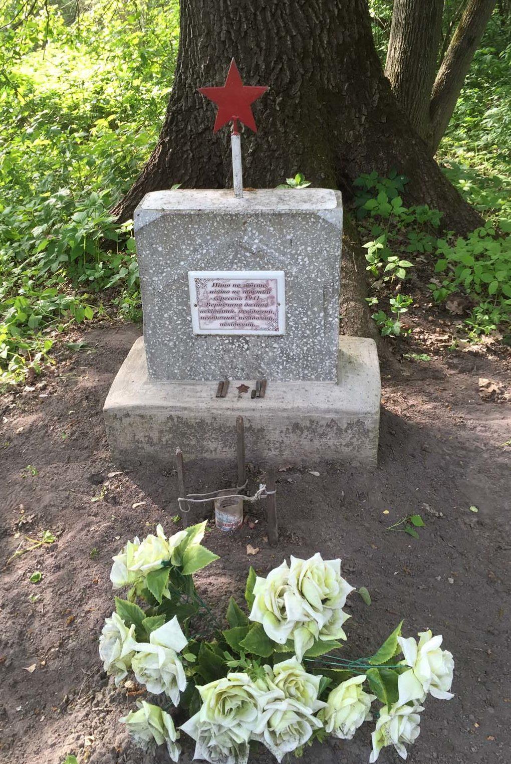 Барышевский р-н. Братская могила советских воинов в лесном массиве между селами Корнеевка и Красноармейское.