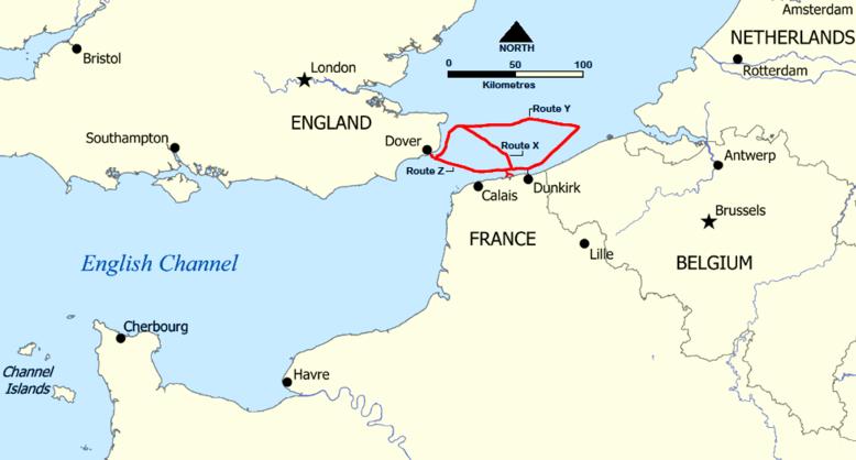 Карта-схема трех маршрутов эвакуации.