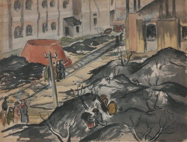 Lindsay Arthur. Японский лагерь для интернированных Pootung зимой.