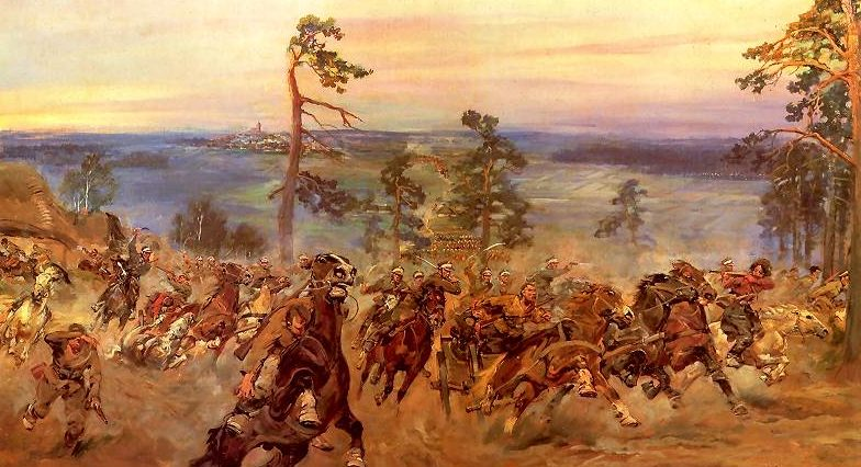 Kossak Jerzy. Кавалерийская атака.