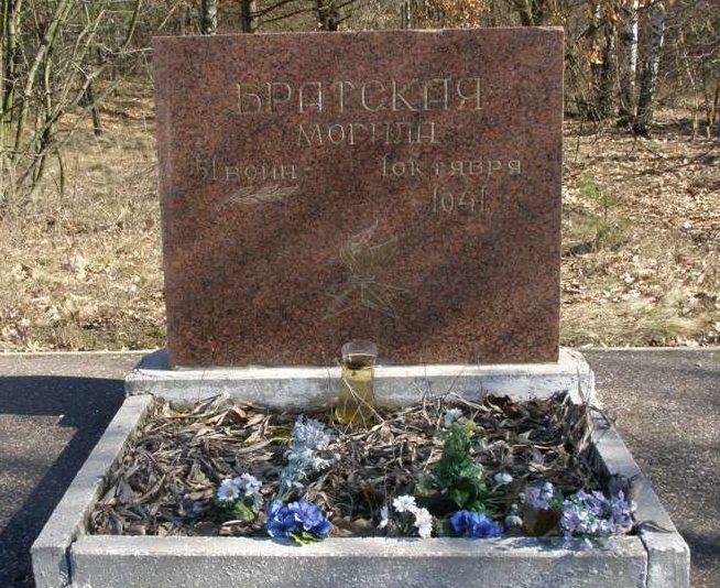 с. Дивички Переяслав-Хмельницкого р-на. Памятник на братской могиле, в которой похоронен 51 воина 57 полка НКВД, погибший 1 октября 1941 года.
