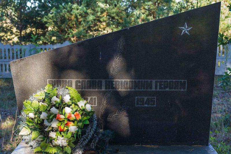 с. Белый Берег Иванковского р-на. Памятник на кладбище, установленный в 1946 году на братской могиле воинов, погибших в годы войны.