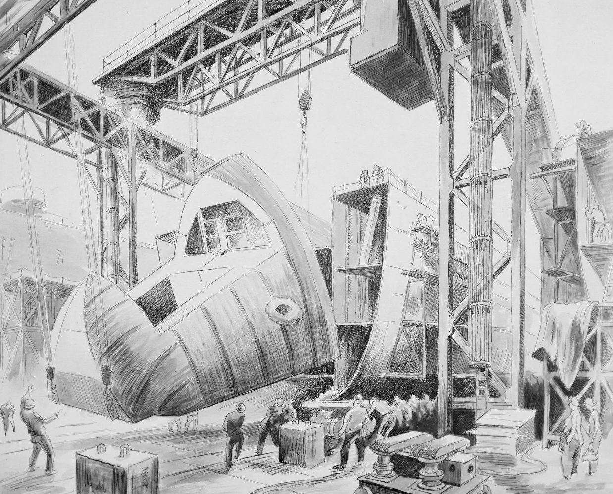 Benton Thomas Hart. Строительство десантного корабля.