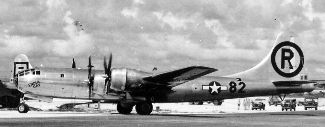 Бомбардировщик B-29 Superfortress, с которого был сброшен «Малыш». 6 августа 1945 г.