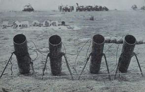 Метательные устройства снарядов (газометы) с ОВ, установленные на побережье.