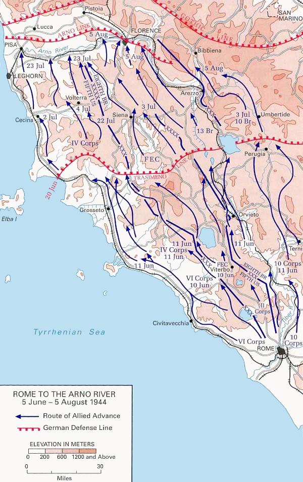 Тразименская линия и линия Арно – оборонительные линии севернее Рима
