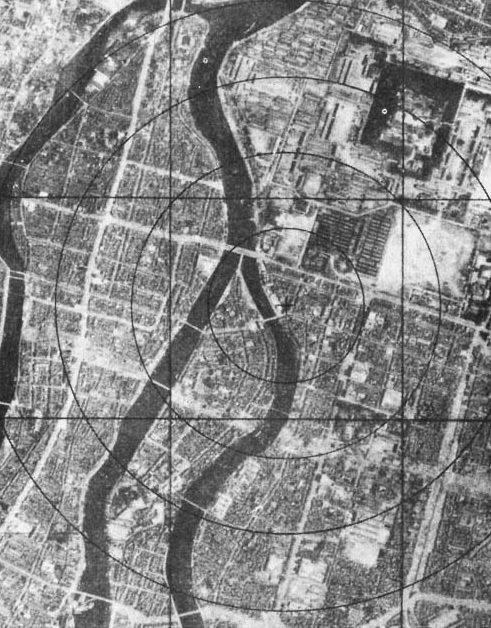 Хиросима до бомбардировки, аэрофотосъемка. 6 августа 1945 г.