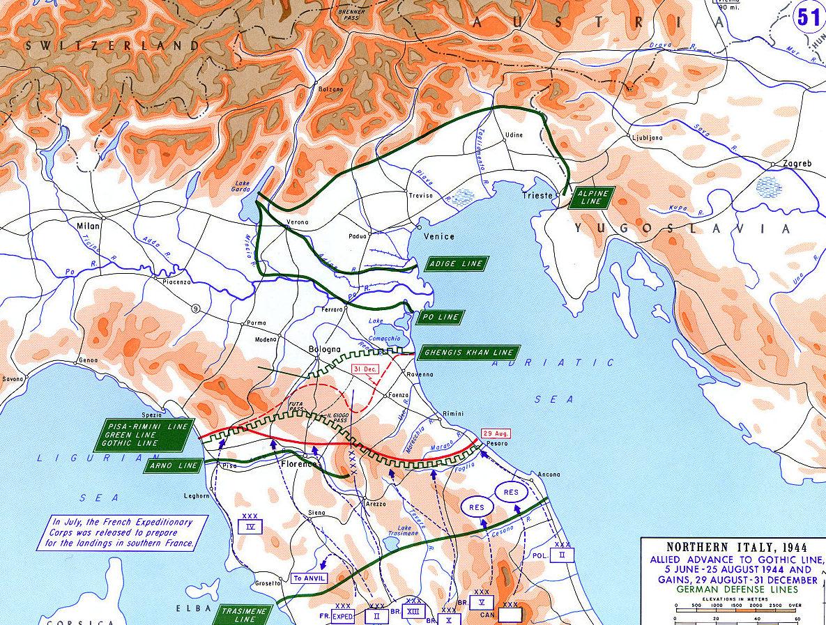 Оборонительные линии в Северной Италии.