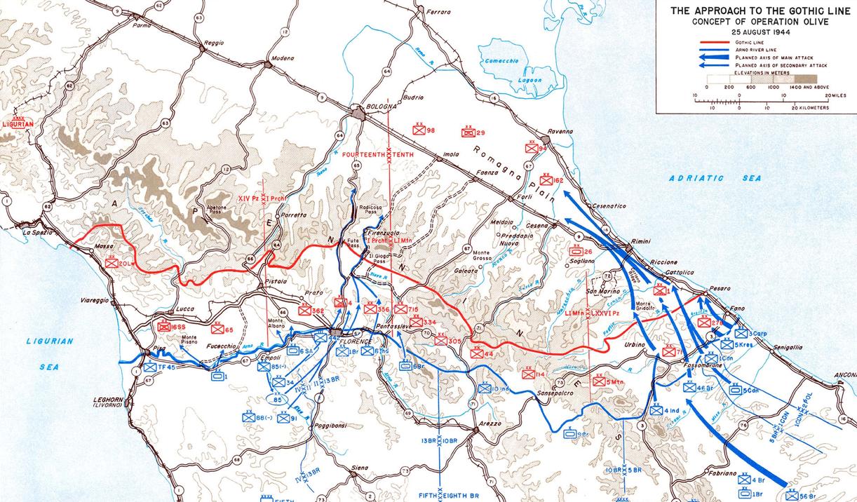 «Готская линия», август 1944 года и план операции «Оливия». Синие стрелки показывают крупные атаки союзников.