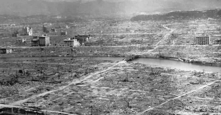 Последствия взрыва. Вид с высоты. 6 августа, 1945 г.