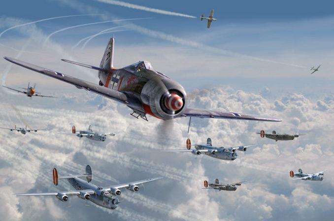 Laurier Jim. Атака истребителей Fw-190 A-8 на бомбардировщиков B-17s.