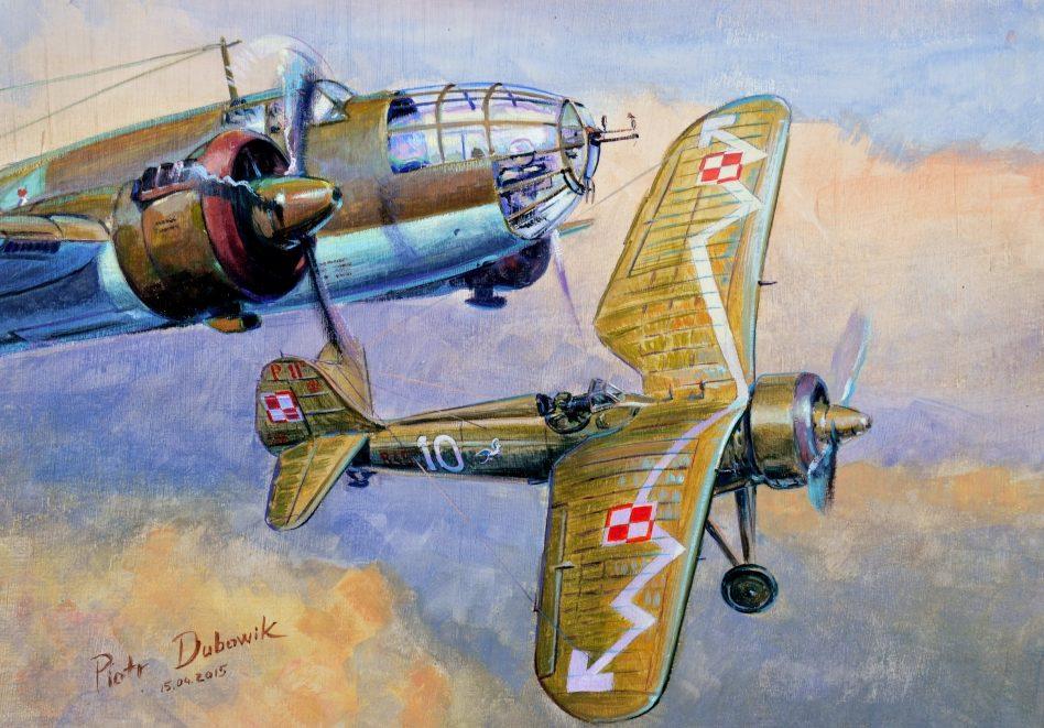 Dubowik Piotr. Бомбардировщик PZL-37b « Łoś» и истребитель PZL P-11.