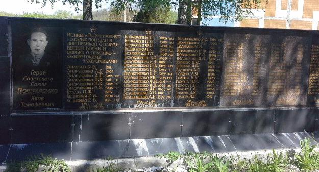 с. Безрадичи Обуховского р-на. Памятник в центре села, установленный в 1965 годах на братской могиле воинов, погибших в годы войны.