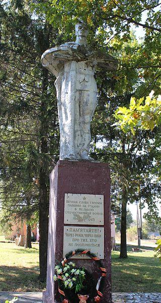 с. Пологи-Яненки Переяслав-Хмельницкого р-на. Памятник в центре села, установленный в 1960 году на братской могиле воинов, погибших в годы войны.