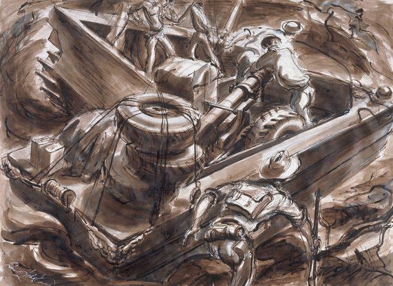 Hodgkinson Frank. Доставка орудия на берег.