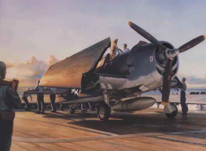 Laurier Jim. Истребитель F-6F Hellcat на палубе авианосца.