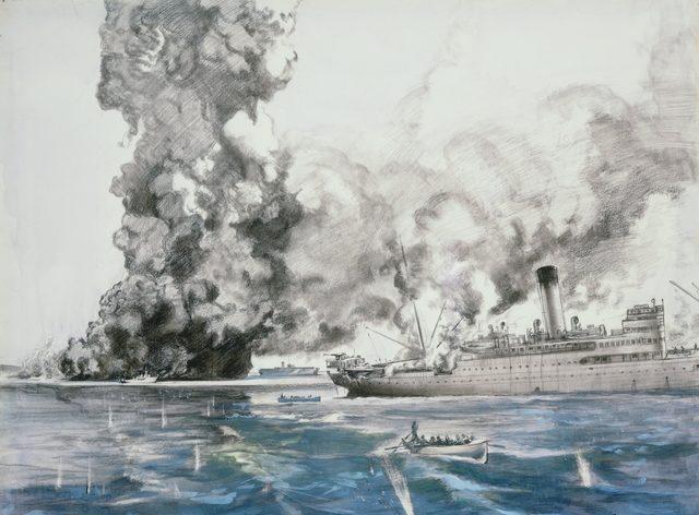 Hodgkinson Roy. Воздушный налет на крейсер «Australia».