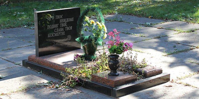 с. Рассвет Переяслав-Хмельницкого р-на. Памятник у дома культуры, установленный в 1953 году на могиле советского летчика.