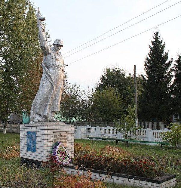 с. Сомкова Долина Переяслав-Хмельницкого р-на. Памятник у клуба, установленный в 1964 году на братской могиле воинов, погибшим в годы войны.