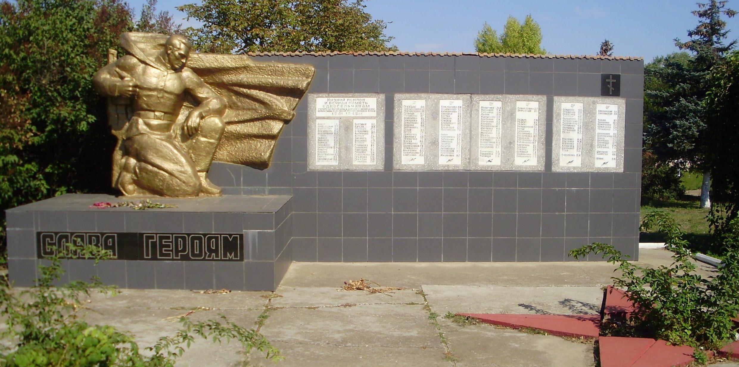 с. Бритовка Белгород-Днестровского р-на. Памятник жителям с. Бритовка и с. Папушой, погибших на войне.