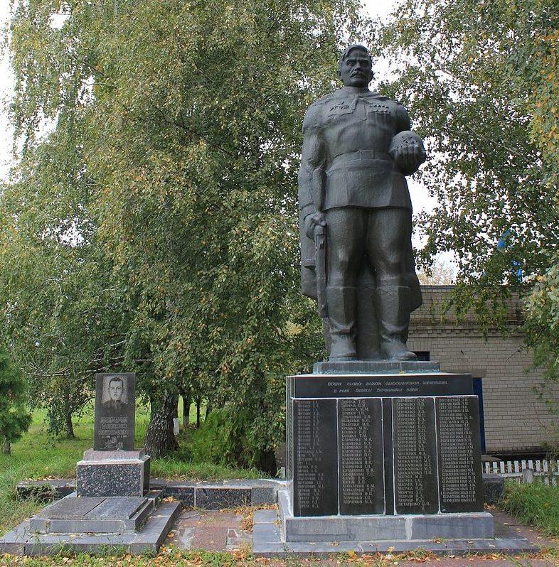 с. Строкова Переяслав-Хмельницкого р-на. Памятник у клуба, установленный в 1965 году на братской могиле воинов, погибшим в годы войны.