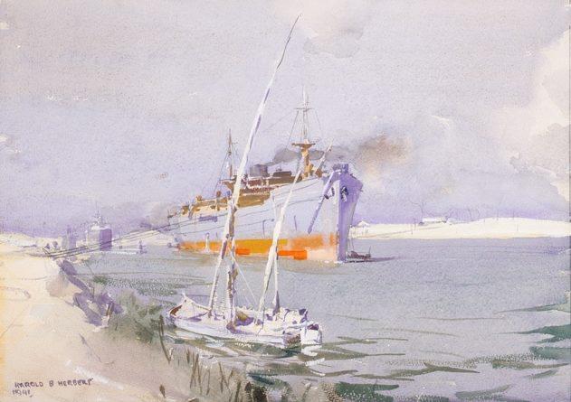 Harold Herbert. Военный транспорт в Суэцком канале.