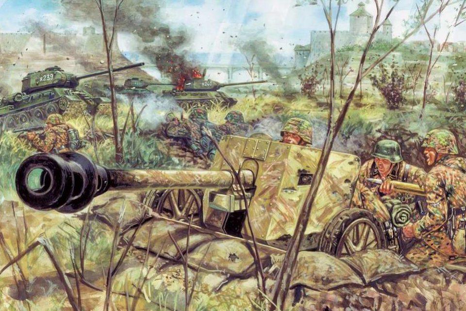 Rava Giuseppe. Немецкие артиллеристы отбиваются от русских танков.