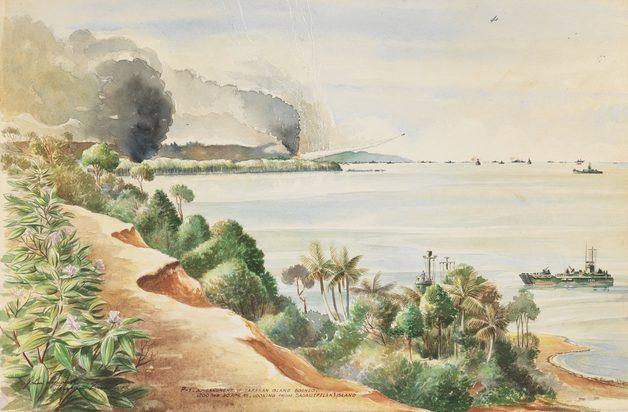 Papworth John. Обстрел острова Tarakan.
