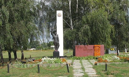 с. Плоское Броварского р-на. Памятник возле школы, установленный в 1960 году на братской могиле воинов, погибших в годы войны.